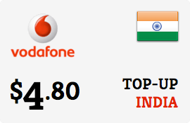 $4.80 Vodafone India Prepaid Wireless Top-Up