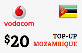 $20.00 Vodacom Mozambique Prepaid Wireless Top-Up