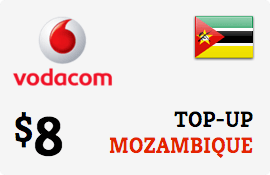 $8.00 Vodacom Mozambique Prepaid Wireless Top-Up