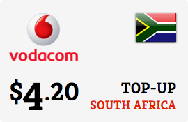 $4.20 Vodacom South Africa  Prepaid Wireless Top-Up