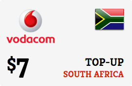$7.00 Vodacom South Africa  Prepaid Wireless Top-Up