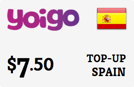 $7.50 Yoigo Spain Prepaid Wireless Top-Up