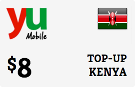 $8.00 Yu Kenya Prepaid Wireless Top-Up