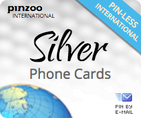 $20.0000 PINZOO Silver International & Domestic Phone Cards & Calling Cards