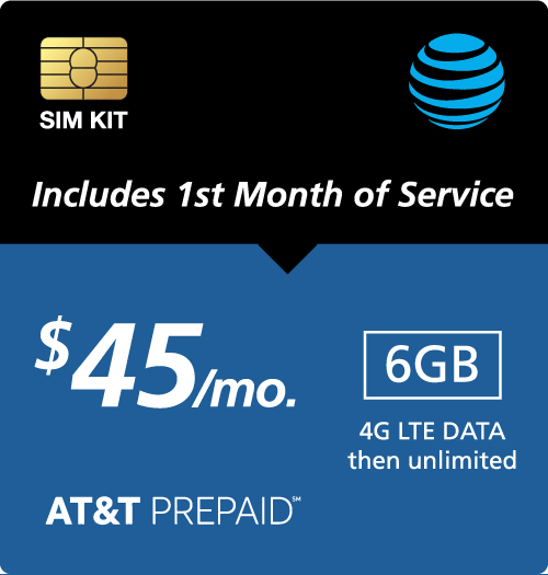 $45.00 AT&T Prepaid® Prepaid Wireless SIM Cards