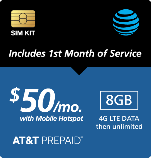 $50.00 AT&T Prepaid® Prepaid Wireless SIM Cards