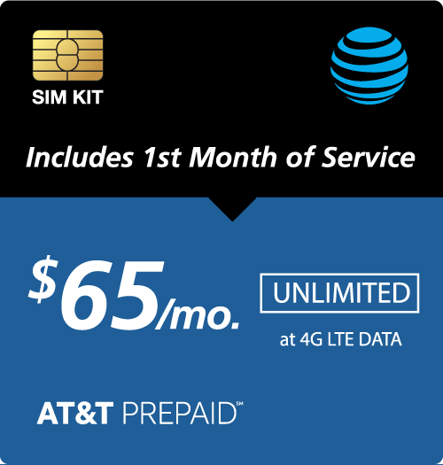 $65.00 AT&T Prepaid® Prepaid Wireless SIM Cards