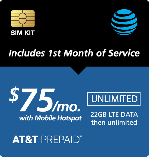 $85.00 AT&T Prepaid® Prepaid Wireless SIM Cards