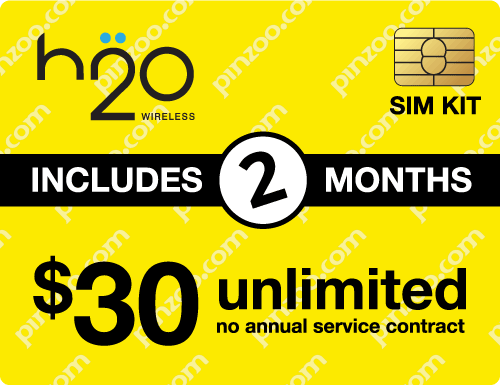 $70.00 H2O Wireless® Prepaid Wireless SIM Cards