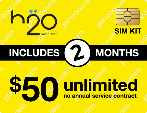 $110.00 H2O Wireless® Prepaid Wireless SIM Cards
