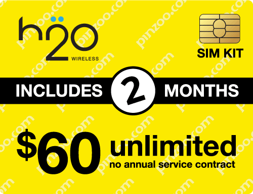 $130.00 H2O Wireless® Prepaid Wireless SIM Cards