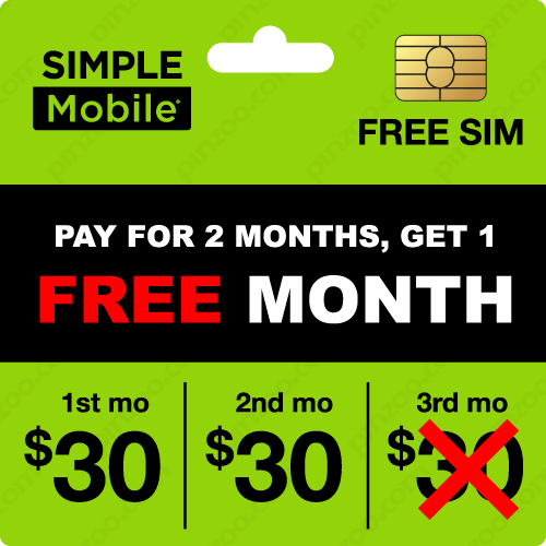 $100.00 Simple Mobile® Prepaid Wireless SIM Cards