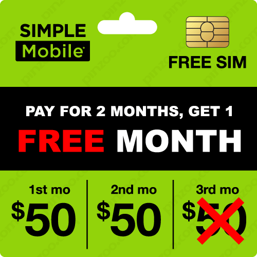 $160.00 Simple Mobile® Prepaid Wireless SIM Cards