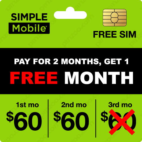 $190.00 Simple Mobile® Prepaid Wireless SIM Cards