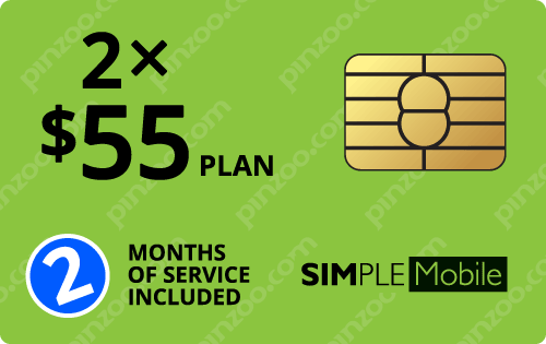 $120.00 Simple Mobile® Prepaid Wireless SIM Cards