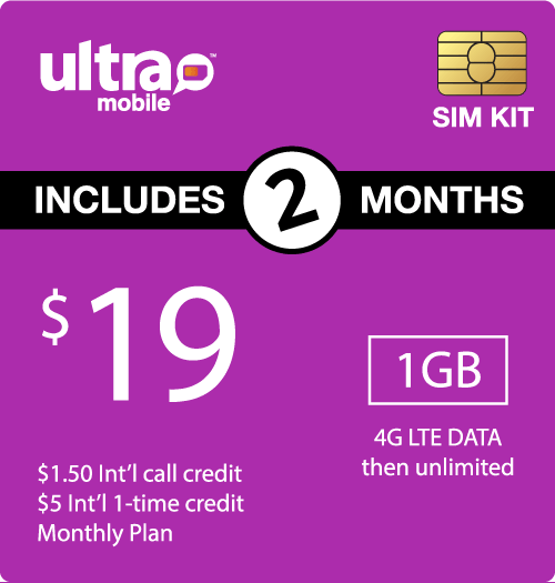 $48.00 Ultra Mobile® Prepaid Wireless SIM Cards