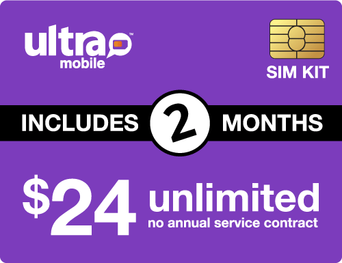 $58.00 Ultra Mobile® Prepaid Wireless SIM Cards