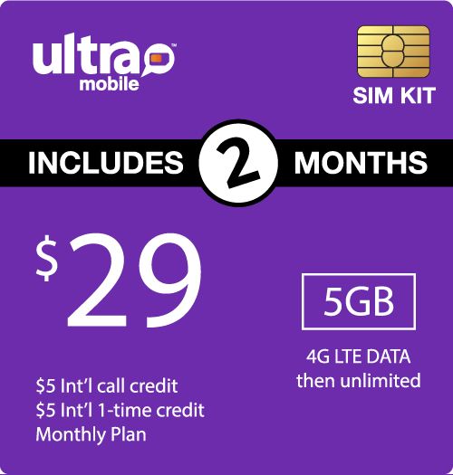 $68.00 Ultra Mobile® Prepaid Wireless SIM Cards