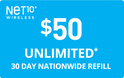 $50.00 Net10® Refill Minutes Instant Prepaid Airtime