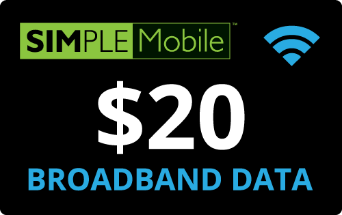 $20.00 Simple Mobile® Refill Minutes Instant Prepaid Airtime