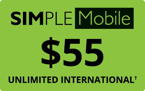 $55.00 Simple Mobile® Refill Minutes Instant Prepaid Airtime