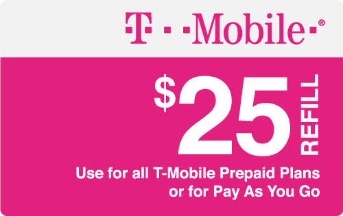 $25.00 T-Mobile® Real Time Refill Minutes