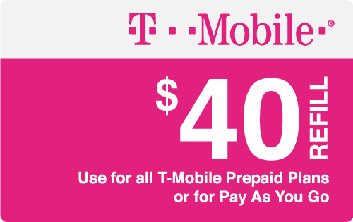 $40.00 T-Mobile® Real Time Refill Minutes