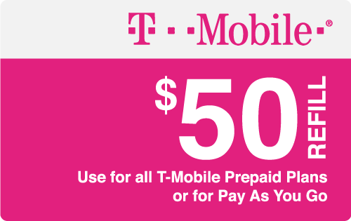 $50.00 T-Mobile® Real Time Refill Minutes