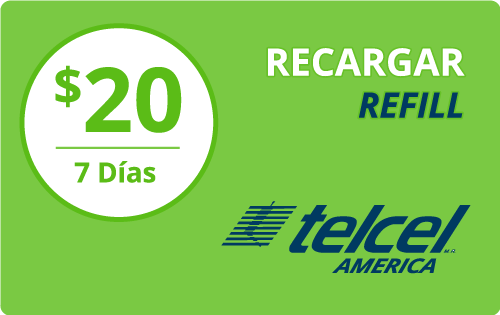 $20.00 Telcel America® Refill Minutes Instant Prepaid Airtime
