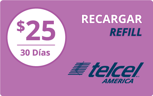 $25.00 Telcel America® Refill Minutes Instant Prepaid Airtime