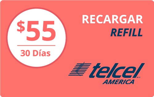$55.00 Telcel America® Refill Minutes Instant Prepaid Airtime