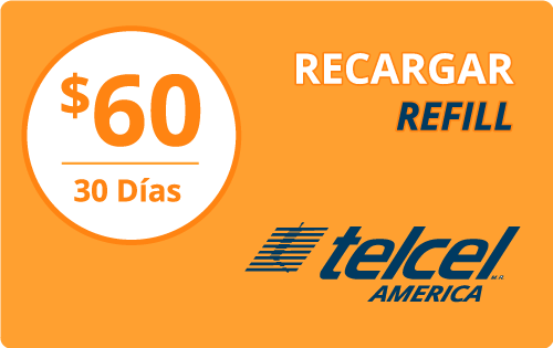 Buy the $60.00 Telcel America® Refill Minutes Instant Prepaid Airtime | On SALE for Only $60.00