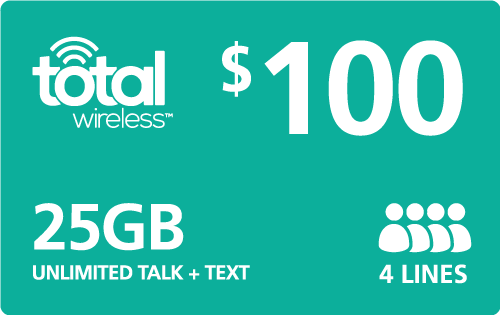 $100.00 Total Wireless® Refill Minutes Instant Prepaid Airtime