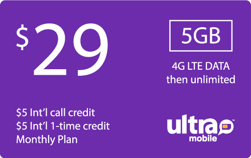$28.89 Ultra Mobile® Real Time Refill Minutes